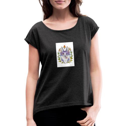 E8E4BD59 F38D - Camiseta con manga enrollada mujer