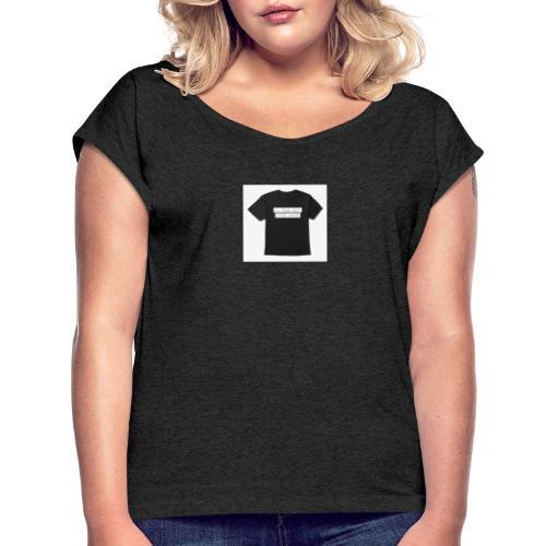 tshirt - T-shirt med upprullade ärmar dam