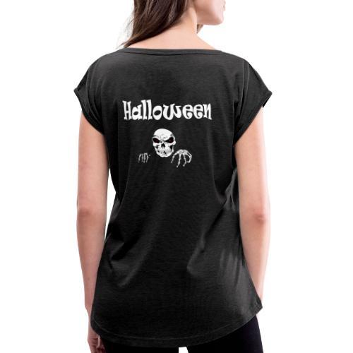 Halloween Dead Head Design - Frauen T-Shirt mit gerollten Ärmeln