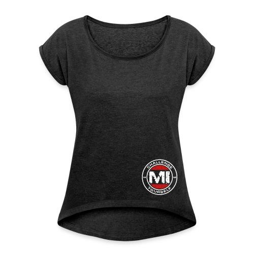 Logo Rund Invert - Frauen T-Shirt mit gerollten Ärmeln