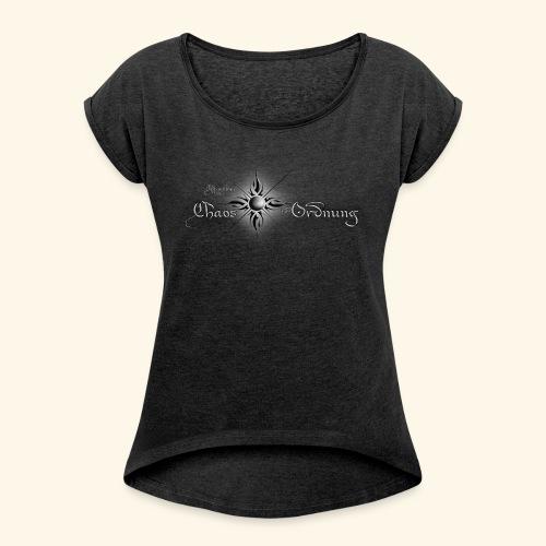 Chroniken Schriftzug hell - Frauen T-Shirt mit gerollten Ärmeln
