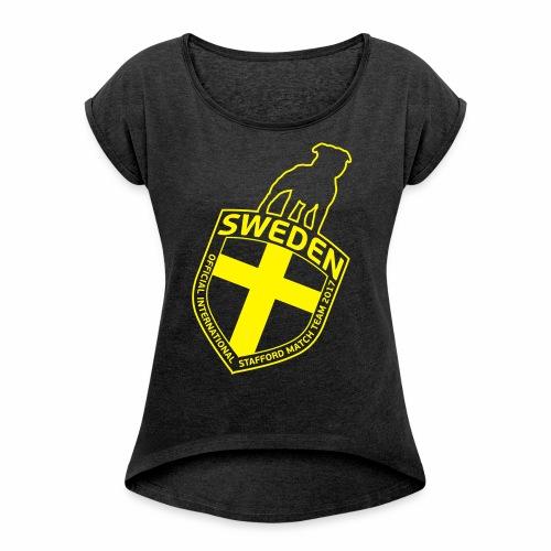 SWE ISM LOGO - T-shirt med upprullade ärmar dam