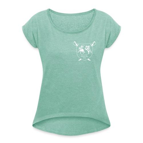 logo miekallinen vastaväri - Naisten T-paita, jossa rullatut hihat