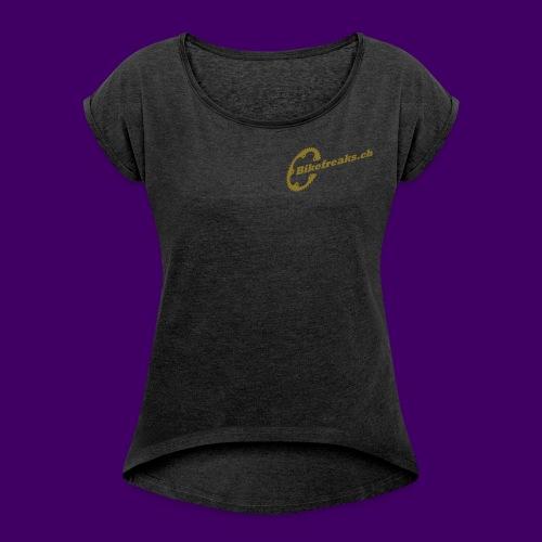 Bikefreaks ch 3 black - Frauen T-Shirt mit gerollten Ärmeln
