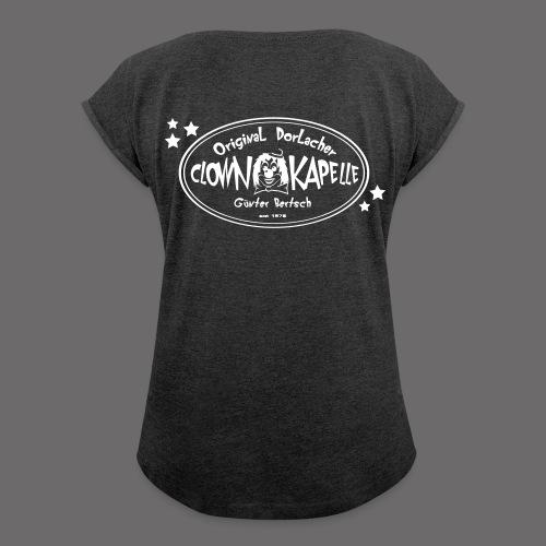clown back 1 - Frauen T-Shirt mit gerollten Ärmeln