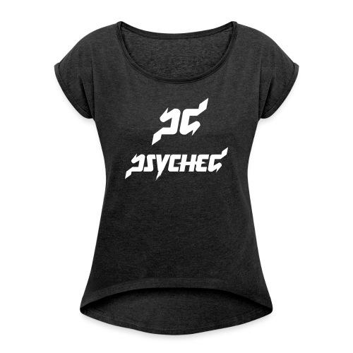 psyched-logo-finalwhite - Vrouwen T-shirt met opgerolde mouwen