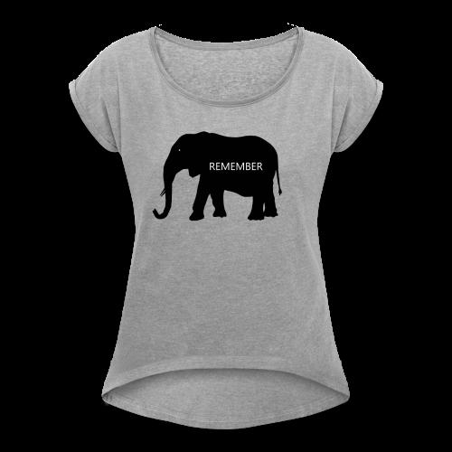 Elephant Collection - T-skjorte med rulleermer for kvinner