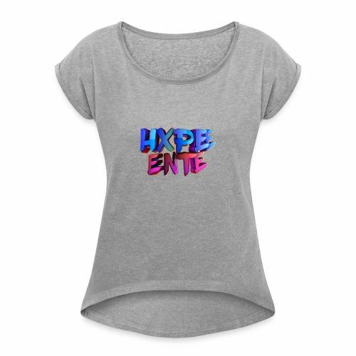 HXPEE-Shirts - Frauen T-Shirt mit gerollten Ärmeln