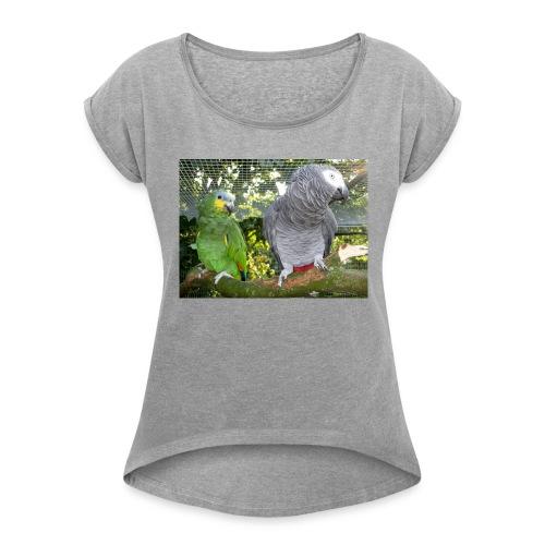 Amazone og grå - Dame T-shirt med rulleærmer
