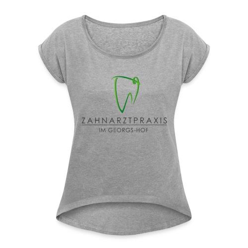 Werbemittel mit Text - Frauen T-Shirt mit gerollten Ärmeln
