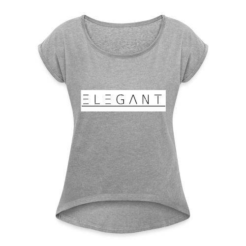 ELEGANT FASHION / NEW 2017 - Frauen T-Shirt mit gerollten Ärmeln
