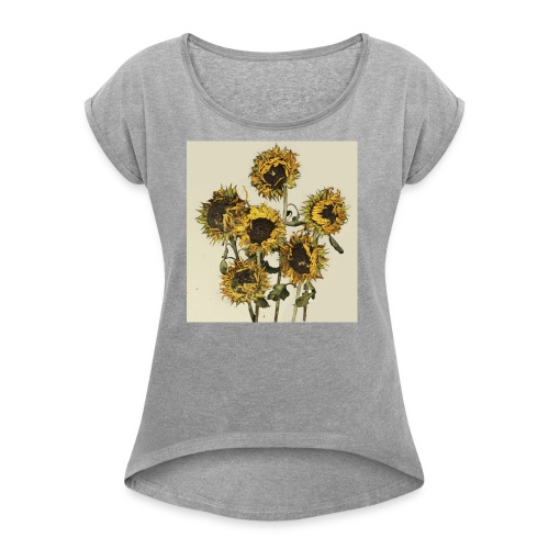 Sunflowers - Women's T-shirt with rolled up sleeves