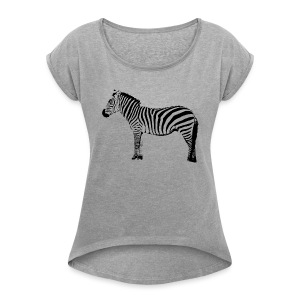 Basic T-Shirt Woman | I am a freaking ZEBRA - Women's T-shirt with rolled up sleeves