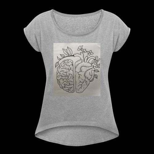 Brain VS Heart - Frauen T-Shirt mit gerollten Ärmeln