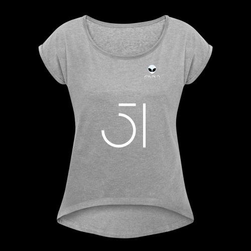 51 - Vrouwen T-shirt met opgerolde mouwen