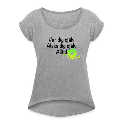 Forever Grön/gul - T-shirt med upprullade ärmar dam