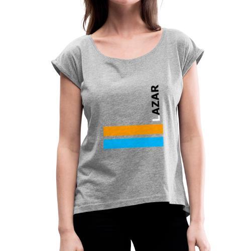 LAZAR - Frauen T-Shirt mit gerollten Ärmeln