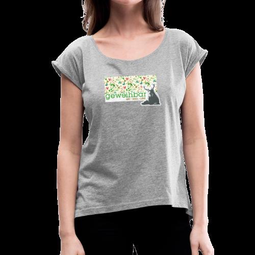 geweihbär ART - Frauen T-Shirt mit gerollten Ärmeln