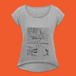 2 finger salute - Women's T-shirt with rolled up sleeves