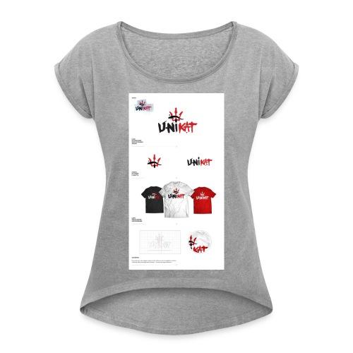 unikat_1 - Koszulka damska z lekko podwiniętymi rękawami