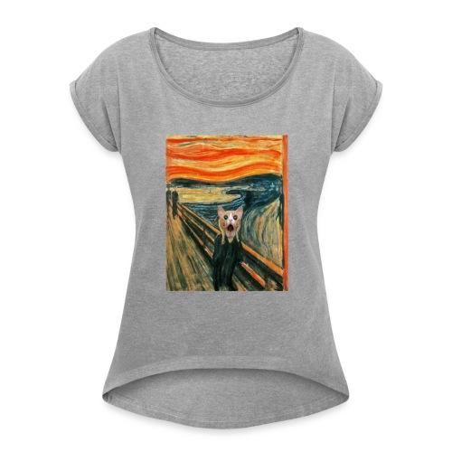 cat scream - T-shirt à manches retroussées Femme