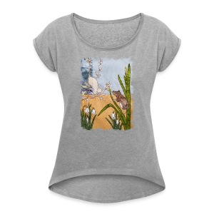 Mice and Pussy Willows Design - Women's T-shirt with rolled up sleeves