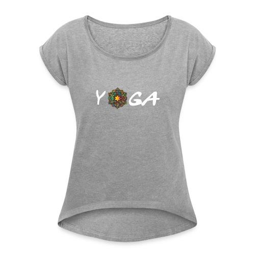 YOGA MANDALA T-SHIRT - Frauen T-Shirt mit gerollten Ärmeln