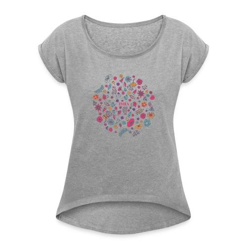 isha flowers circle - Frauen T-Shirt mit gerollten Ärmeln