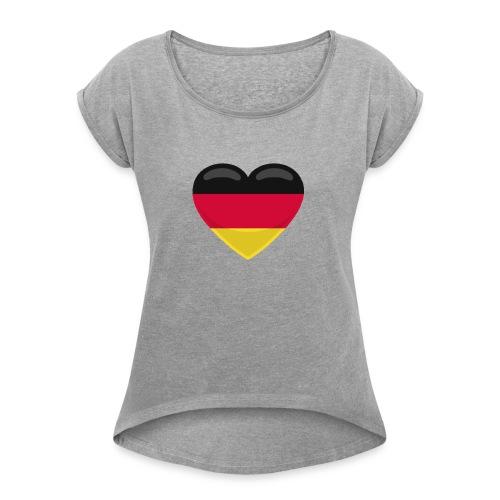 germany heart - Frauen T-Shirt mit gerollten Ärmeln