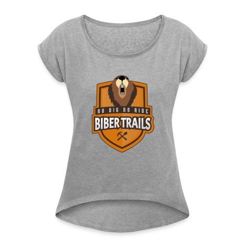 Biber Trails Classic Emblem - Frauen T-Shirt mit gerollten Ärmeln