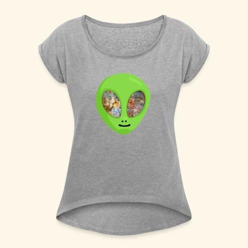 Alien hoofd 1 - Vrouwen T-shirt met opgerolde mouwen
