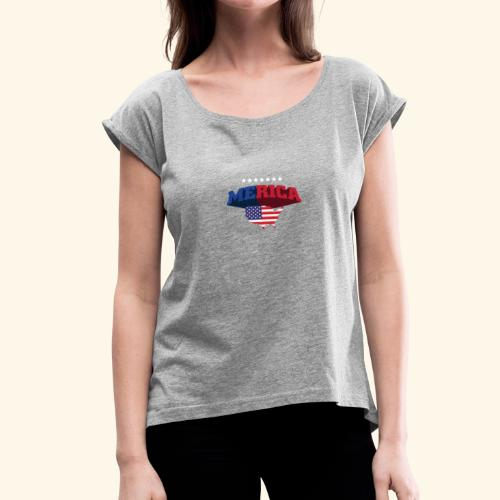 AMERICA TSHIRTS02 1 - Women's T-Shirt with rolled up sleeves