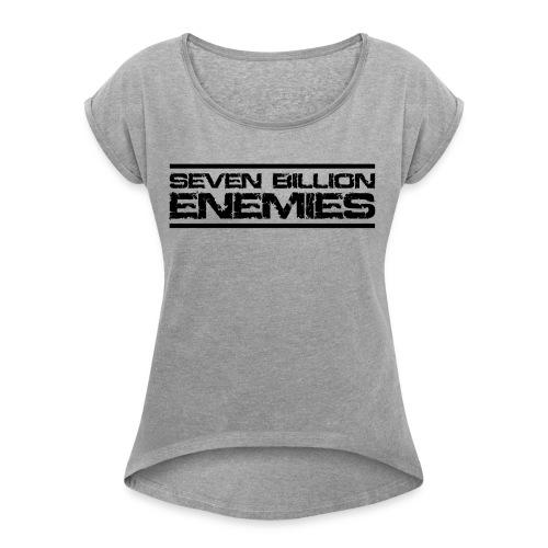 Seven Billion Enemies - NOIR - T-shirt à manches retroussées Femme