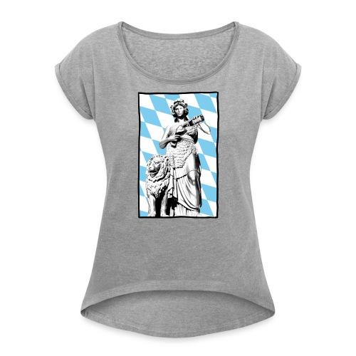 Bavaria am Weißbier schwoam - Frauen T-Shirt mit gerollten Ärmeln