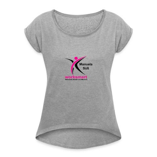 Namensschild Manu - Frauen T-Shirt mit gerollten Ärmeln