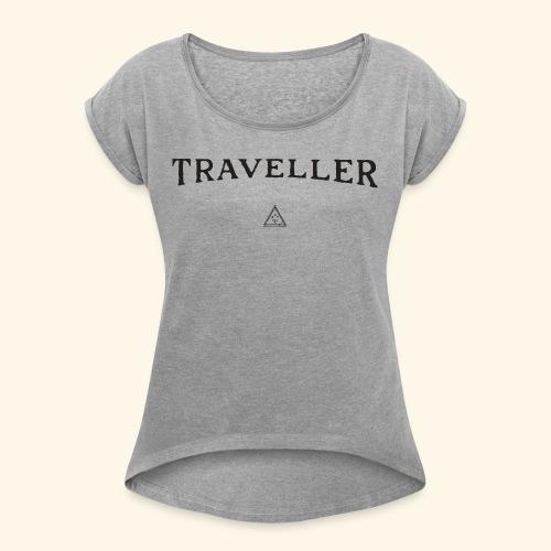 Shirt Reisenden - Frauen T-Shirt mit gerollten Ärmeln