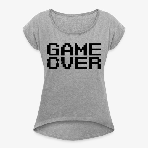 GAME fOreVER 2lines L FREtrans - Women's T-Shirt with rolled up sleeves