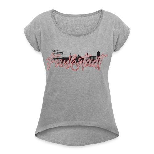 Funkstadt Shirt black / red - Frauen T-Shirt mit gerollten Ärmeln