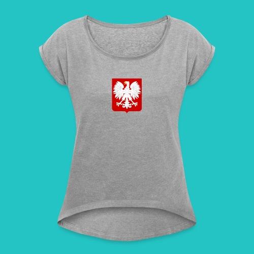 Koszulka z godłem Polski - Koszulka damska z lekko podwiniętymi rękawami