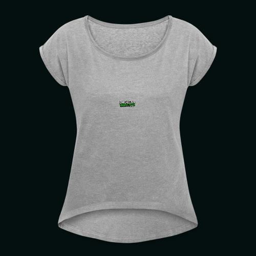 Dagelijkse Berichten Tshirt Logo v1 - Vrouwen T-shirt met opgerolde mouwen