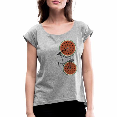 Retro Fahrrad mit Melonen Rädern - Frauen T-Shirt mit gerollten Ärmeln