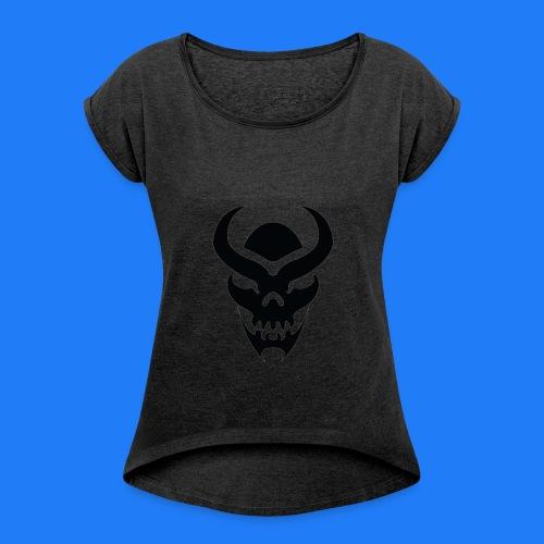 TRIBAL SKULL NOIR - T-shirt à manches retroussées Femme