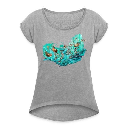 Fangtag // Bären fangen Fische (Morph-Art) - Frauen T-Shirt mit gerollten Ärmeln