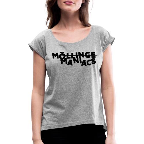 Möllinge Maniacs svart logga - T-shirt med upprullade ärmar dam