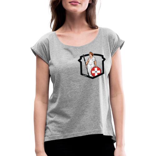 Helvetic Weightlifting Girl - Frauen T-Shirt mit gerollten Ärmeln
