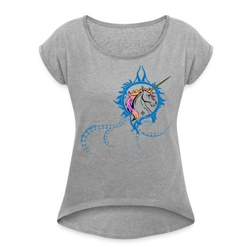 unicorn tee png - T-shirt à manches retroussées Femme