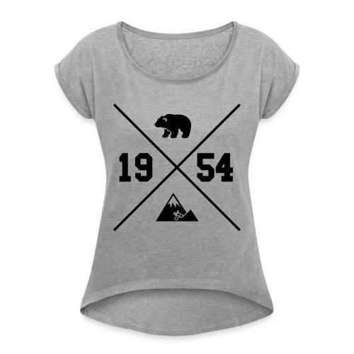Karhuvuori -baseballhuppari - Naisten T-paita, jossa rullatut hihat