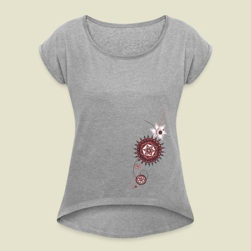 Blumenkomposition - Frauen T-Shirt mit gerollten Ärmeln