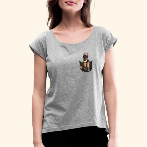 Schäferhund - Frauen T-Shirt mit gerollten Ärmeln