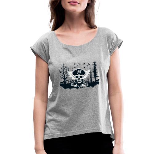 Pirat Wikinger Pirat - Frauen T-Shirt mit gerollten Ärmeln